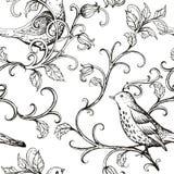 传染媒介手拉与鸟纹理样式 向量例证