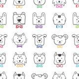 传染媒介手拉的乱画动画片动物头 免版税库存照片