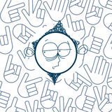 传染媒介手拉的动画片男孩 教育题材图形设计el 免版税库存照片