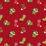 传染媒介手拉的圣诞节或无缝的新年 免版税库存照片