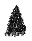 传染媒介手拉的墨水笔圣诞树 库存图片