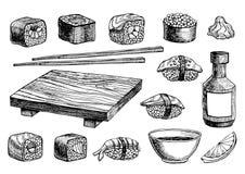 传染媒介手拉的寿司集合 皇族释放例证