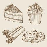 传染媒介手拉的甜点 库存照片