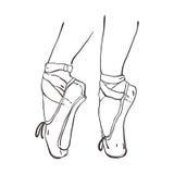 传染媒介手拉的芭蕾舞鞋点 免版税库存图片