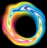 传染媒介打旋的液体表面生动的彩虹颜色 免版税库存照片