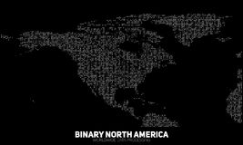 传染媒介抽象二进制北美地图 从二进制数修建的大陆 全球信息网 库存图片
