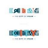 传染媒介抽象城市商标 免版税库存图片
