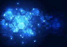 传染媒介抽象未来技术,例证背景 免版税库存图片