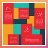 传染媒介抽象模板。与地方的五颜六色长方形盘区 免版税库存图片