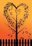 传染媒介抽象音乐树和心脏 库存图片
