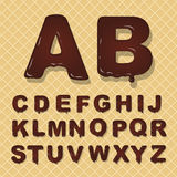 传染媒介拉丁首都字母表由巧克力制成 字体风格 向量例证