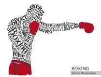 传染媒介拳击手 运动员的剪影从主题词的 免版税图库摄影