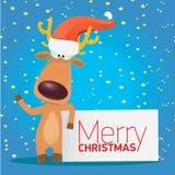 传染媒介拿着白色横幅的圣诞节驯鹿 免版税库存照片