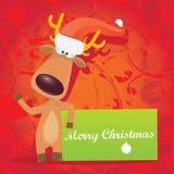 传染媒介拿着绿色横幅的圣诞节驯鹿 免版税库存图片