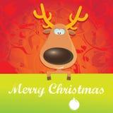 传染媒介拿着绿色横幅的圣诞节驯鹿 免版税库存照片