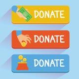 传染媒介捐赠概念-手和金钱 免版税库存照片