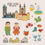 传染媒介捷克旅行和旅游业的乱画艺术 免版税图库摄影
