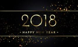 传染媒介2018新年与金子闪烁五彩纸屑泼溅物纹理的黑色背景 免版税库存图片