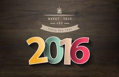 传染媒介新年好2016在吠声木头纹理的文本设计  免版税库存图片