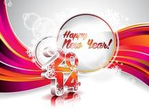 传染媒介新年快乐2014五颜六色的庆祝背景 图库摄影