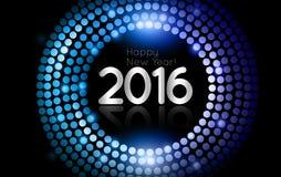 传染媒介-新年快乐2016年-金迪斯科点燃框架 免版税库存图片