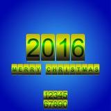 传染媒介2016新年黄色蓝色卡片测路器 库存图片