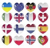 传染媒介-旗子心脏光滑的按钮 免版税库存照片