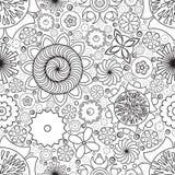 传染媒介无缝的单色花卉样式 手拉的花乱画的模仿 图库摄影
