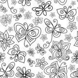 传染媒介无缝的单色花卉样式 皇族释放例证