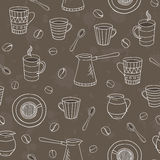 传染媒介无缝的咖啡样式 免版税库存图片