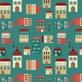 传染媒介无缝的城市样式 免版税库存照片
