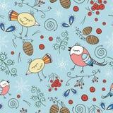 传染媒介无缝的样式,乱画的冬天设计 递在森林冬天季节逗人喜爱的例证的凹道鸟 免版税库存照片