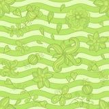 传染媒介无缝的样式,乱画花。绿色 免版税库存照片