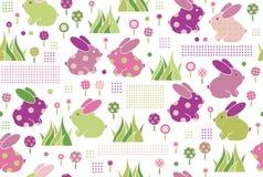 传染媒介无缝的样式,在花的兔子 库存照片