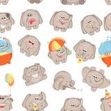 传染媒介无缝的样式滑稽的动画片大象 免版税库存图片