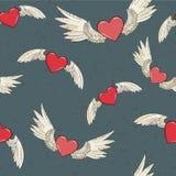 传染媒介无缝的翼和心脏 库存例证