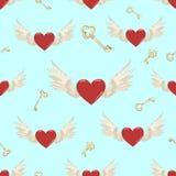 传染媒介无缝的翼和心脏 向量例证