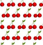 传染媒介无缝的背景用手拉的樱桃 库存例证