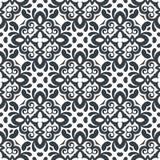 传染媒介无缝的装饰花卉样式 黑白颜色 免版税库存照片