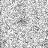 传染媒介无缝的黑白花卉样式 免版税图库摄影