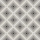 传染媒介无缝的黑白菱形盖瓦样式 增加笔划重度朝形状中间的同心线 皇族释放例证