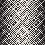 传染媒介无缝的黑白被环绕的线迷宫不规则的样式中间影调梯度 库存照片