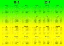 传染媒介日历模板- 2016年和2017年 免版税库存照片