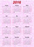 传染媒介日历模板- 2016年 免版税库存照片