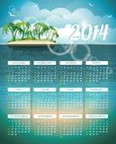 传染媒介日历2014年例证。 免版税库存照片