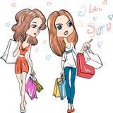 传染媒介时尚逗人喜爱的女孩 免版税库存照片