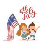 传染媒介7月4日美国独立日标志 有旗子的孩子 免版税库存照片