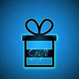 传染媒介有不可思议的闪闪发光和说明礼物的礼物盒在蓝色背景 库存照片