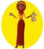传染媒介-有杯子和阿拉伯咖啡罐的回教女孩 2 business woman 美好的设计 库存图片