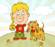 传染媒介有狗的字符男孩在宠物展示竞争赢取了 库存照片